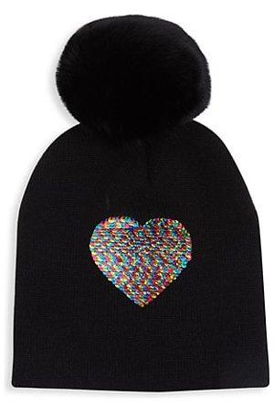 Surell Girls Beanies - Fur Pom Heart Beanie