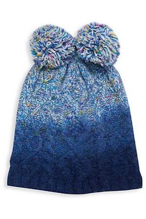 JOCELYN Kid's Faux Fur Pom Dip-Dye Multi Color Knit Hat