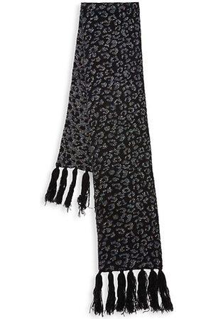 JOCELYN Girls Scarves - Kid's Fringe Cashmere Blend Lurex Jacquard Knit Scarf