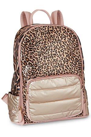 Bari Lynn Leopard-Print Custom Puffy Backpack