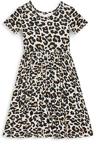 Posh Peanut Girl's Lana Leopard Short Sleeve Basic Twirl Dress