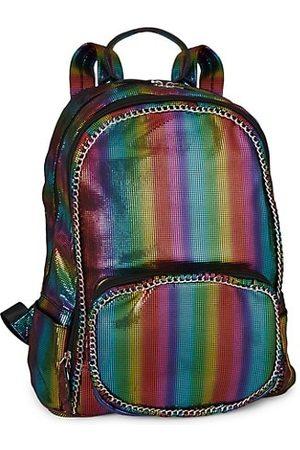 Bari Lynn Girls Rucksacks - Rainbow Stripe Chain Backpack