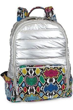 Bari Lynn Metallic Snake-Embossed Puff Backpack
