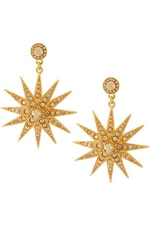 Oscar de la Renta Earrings - Classic Swarovski Crystal Goldtone Star Drop Earrings