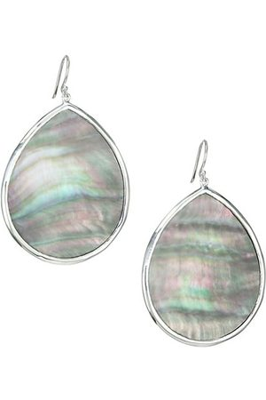 Ippolita Men Earrings - Polished Rock Candy Large Sterling & Black Shell Teardrop Earrings