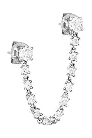 Anita 18K White Gold & Diamond Double-Piercing Loop Single Earring