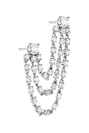 Anita Bianca 18K White Gold & Diamond Double-Piercing 3-Loop Single Earring