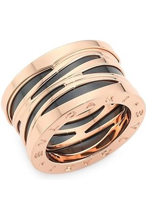 Bvlgari B.zero1 Design Legend 18K Rose & Black Ceramic 4-Band Ring
