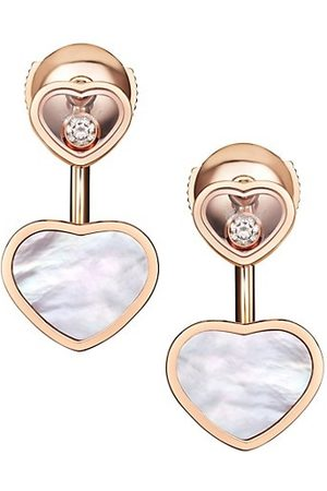 Chopard Happy Hearts 18K Rose , Diamond & Mother-of-Pearl Earrings