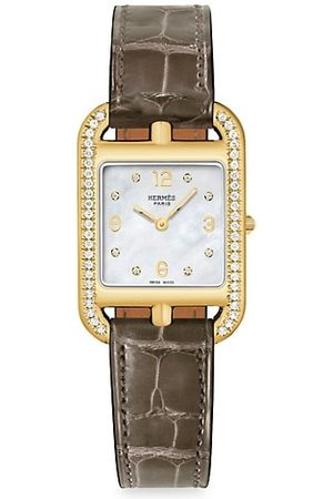 Hermès Cape Cod 29MM Diamond, 18K Yellow Gold & Alligator Strap Watch