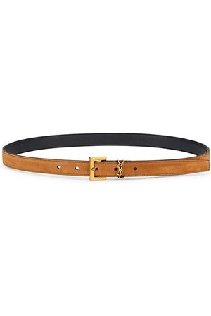 Saint Laurent Women Belts - Logo Skinny Suede Belt