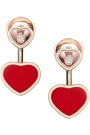 Chopard Happy Hearts 18K Rose , Diamond & Red Stone Earrings