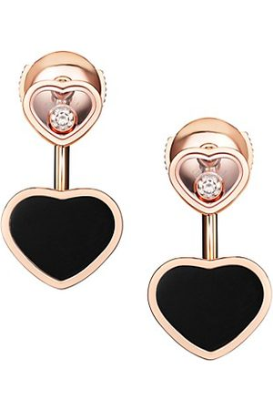 Chopard Happy Hearts 18K Rose , Diamond & Onyx Earrings