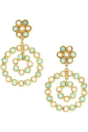 Sylvia Toledano Men Earrings - Flower Candies 22K Goldplated & Multi-Stone Clip-On Drop Earrings
