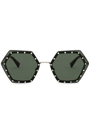 VALENTINO 62MM Embellished Hexagon Sunglasses