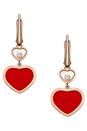 Chopard Happy Hearts 18K Rose , Diamond & Red Stone Drop Earrings