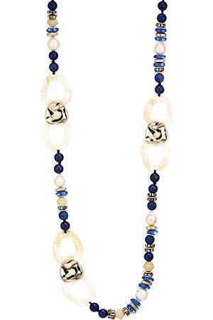 Akola Women Necklaces - Mixed Gemstone Beads & Horn Link Long Necklace