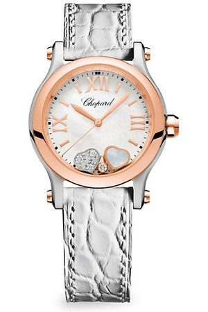 Chopard Watches - Happy Sport Diamond, 18K Rose Gold, Stainless Steel & White Alligator Strap Watch