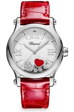 Chopard Watches - Happy Hearts Ronde Stainless Steel, Diamond & Alligator-Strap Watch