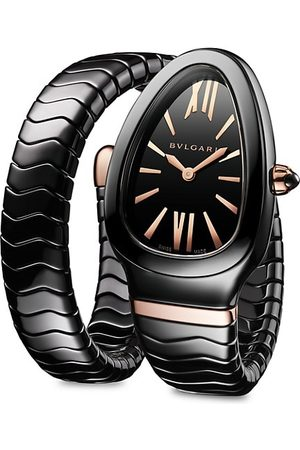Bvlgari Serpenti Spiga 18K 5N Rose Gold & Ceramic Single Twist Watch