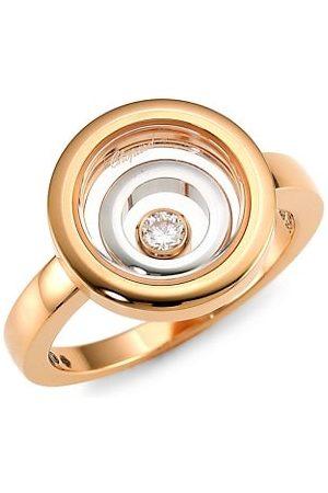 Chopard Rings - Happy Spirit 18K Rose & White & Diamond Double Circle Ring