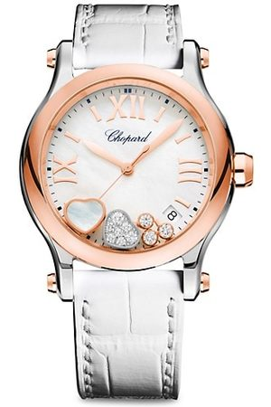 Chopard Happy Sport Diamond, 18K Rose , Stainless Steel & Alligator Strap Watch