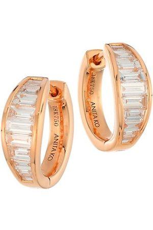 Anita Earrings - 18K Rose & Diamond Baguette Graduated Huggie Hoop Earrings