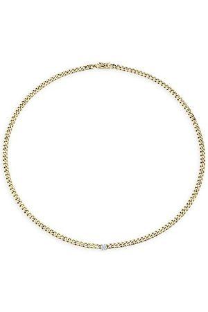 Anita Necklaces - 18K Yellow & Diamond Center Plain Cuban-Link Necklace