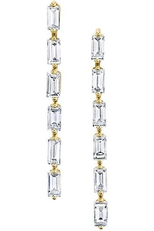 Anita 18K Yellow & Diamond Baguette Short Drop Earrings