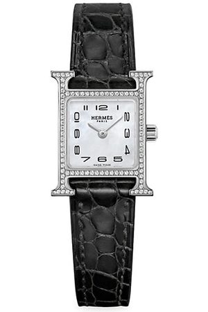 Hermès Heure H Diamond, Steel & Alligator Strap Watch