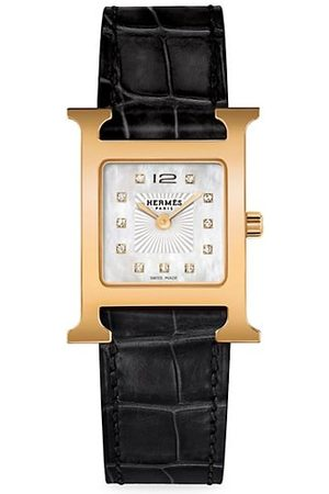 Hermès Heure H Diamond, Rose Goldplated Steel & Alligator Strap Watch