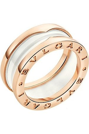 Bvlgari B.zero1 18K Rose & White Ceramic 2-Band Ring