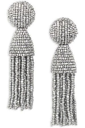 Oscar de la Renta Earrings - Short Beaded Tassel Clip-On Earrings