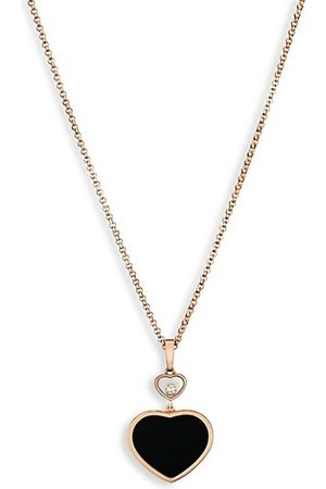 Chopard Happy Hearts 18K Rose , Diamond & Black Onyx Pendant Necklace