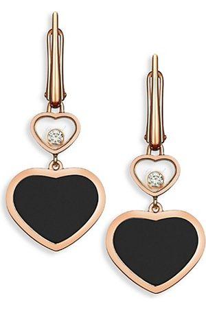 Chopard Earrings - Happy Hearts 18K Rose Diamond & Black Onyx Drop Earrings