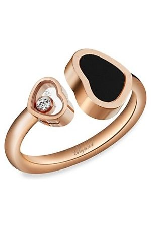 Chopard Rings - Happy Hearts 18K Rose , Diamond & Black Onyx Ring