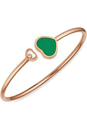 Chopard Happy Hearts 18K Rose , Diamond & Green Agate Bangle