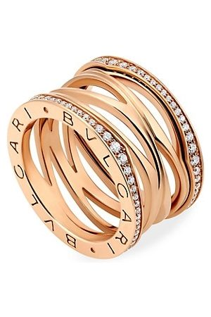 Bvlgari B.zero1 Design Legend 18K Rose & Diamond 4-Band Ring