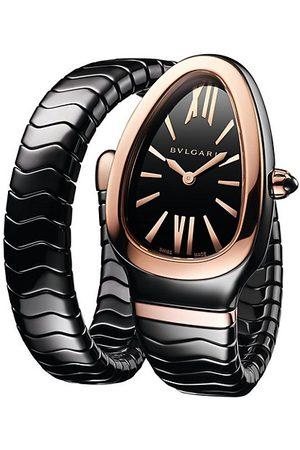 Bvlgari Serpenti Spiga Rose Gold & Ceramic Single Twist Watch