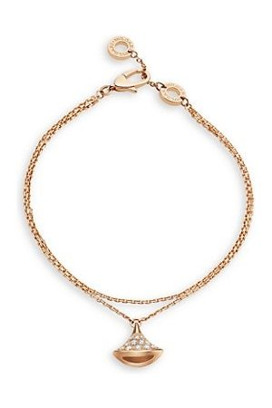 Bvlgari Divas' Dream 18K Rose & Diamond Pendant Double-Strand Bracelet