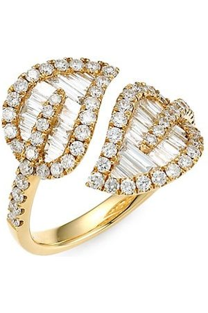 Anita Medium 18K & Baguette Leaf Diamond Ring