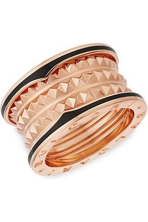 Bvlgari B.zero1 Rock 18K Rose Gold & Black Ceramic 4-Band Ring