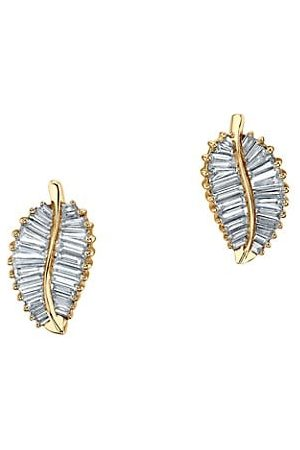 Anita Leaf 18K Yellow & Diamond Palm Leaf Stud Earrings