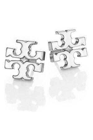 Tory Burch Earrings - Silvertone Logo Stud Earrings