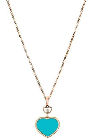 Chopard Happy Hearts 18K Rose , Diamond & Turquoise Pendant Necklace