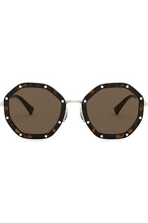 VALENTINO 55MM Embellished Octagonal Sunglasses