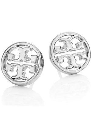 Tory Burch Logo Circle Stud Earrings/Silvertone