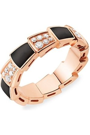 Bvlgari Serpenti Viper 18K Rose , Diamond & Onyx Ring