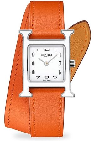 Hermès Heure H 21MM Lacquered Stainless Steel & Leather Strap Watch