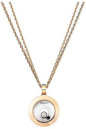 Chopard Happy Spirit Diamond, 18K Rose & White Double Circle Pendant Double-Chain Necklace